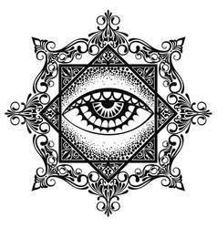 eye pyramid mandala symbol vector image
