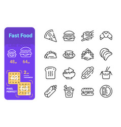 Fast and unhealthy food line icons set vector