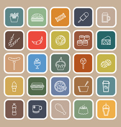 Fast food line flat icons on brown background vector