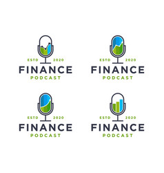 financial charts finance business podcast logo vector image