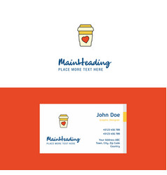 flat juice glass logo and visiting card template vector image
