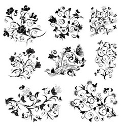 floral designs with butterflies vector image