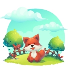 fox in grass - a children cartoon vector image