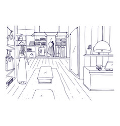 Freehand sketch apparel shop interior vector
