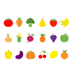 Fruit berry vegetable icon set pear strawberry vector