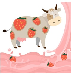 Fruit strawberry milk splash milk cow vector image