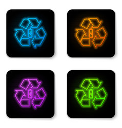 glowing neon battery with recycle symbol line vector image