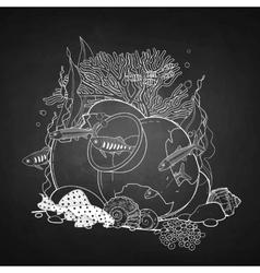 Graphic aquarium fish with broken jar vector