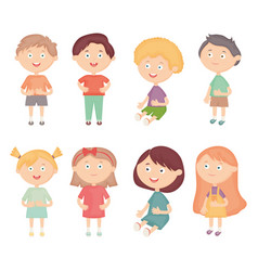 Group little kids characters vector