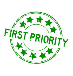 Grunge green first priority word with star icon vector