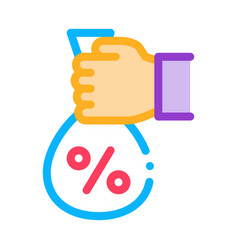 hand giving percent icon outline vector image
