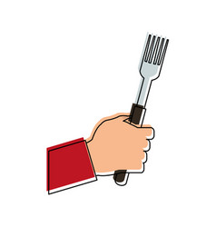 hand holding fork icon image vector image