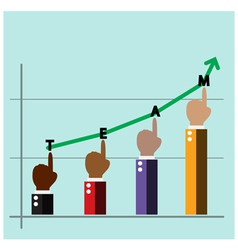 Hands of businessman with graph increase on backgr vector