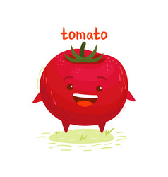 Happy cute smiling tomato vector