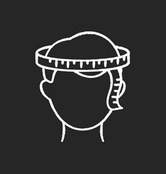 head circumference chalk white icon on black vector image
