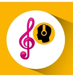 Head silhouette listening music clef vector