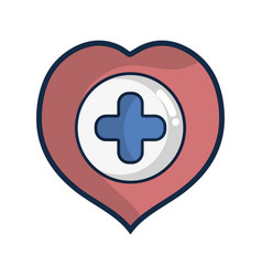 Heart with cross symbol inside to helthcare vector