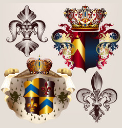 Heraldic set of designs with coat of arms crowns vector