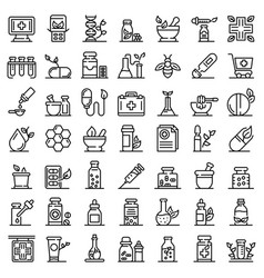 Homeopathy icons set outline style vector