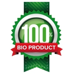 Hundred percent bio product green ribbon vector