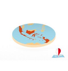Indonesia map designed in isometric style orange vector
