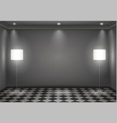 Interior dark room vector