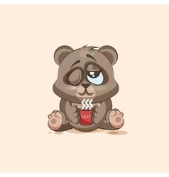 isolated Emoji character cartoon Bear just woke up vector image