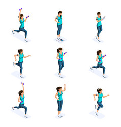 isometrics of the girl are engaged in sports vector image