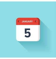January 5 isometric calendar icon with shadow vector