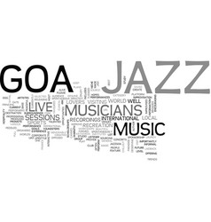Jazz goa text background word cloud concept vector