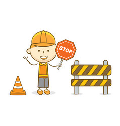 Kid with stop sign vector