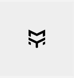 Letter ym my m monogram logo design minimal vector