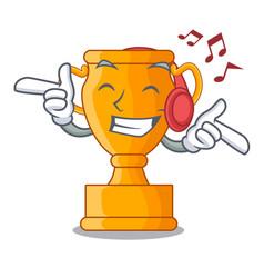 Listening music champion golden trophy on cartoon vector