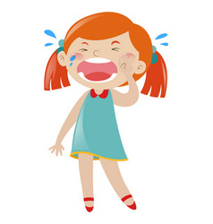 Little girl in blue dress crying vector