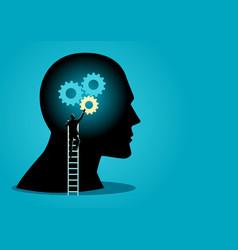 man on ladder installing gears on human head vector image