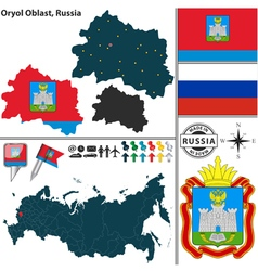 Map of Oblast of Oryol vector