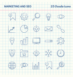 Marketing and seo 25 doodle icons hand drawn vector