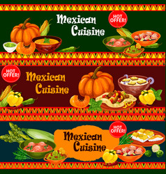Mexican cuisine dishes with ingredient banner vector