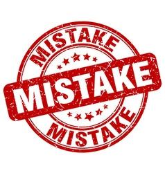 Mistake red grunge round vintage rubber stamp vector
