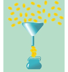 money fall into the funnel vector image