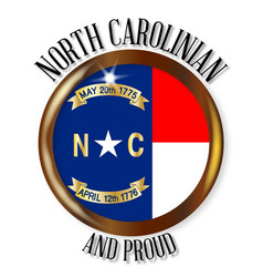 north carolina proud flag button vector image