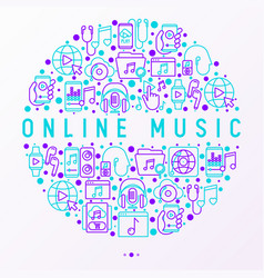 Online music concept in circle with line icons vector