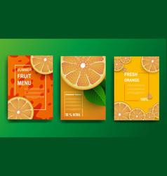 Orange poster sliced slices of orange with leaves vector