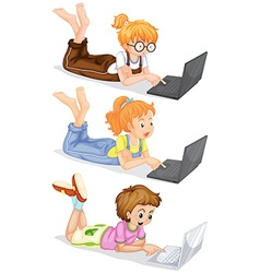 People using laptop computer vector