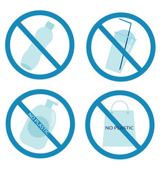 Plastic garbage forbidden sign non recyclable vector