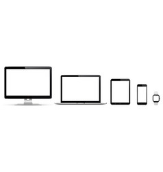 Realistic set monitor laptop tablet vector