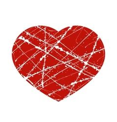 Red grunge heart with lines and splashes vector
