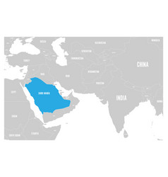 Saudi arabia blue marked in political map south vector
