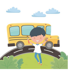 School bus and boy design vector