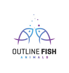 sea fish outline logo vector image